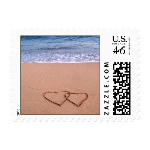 Love on the beach postage stamps