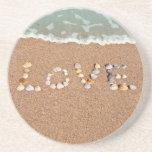 Love on the Beach Sea Shell Coasters