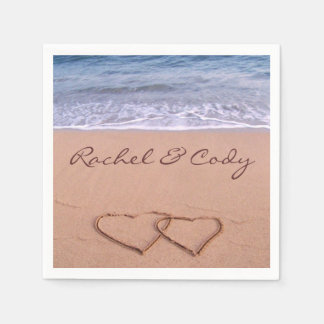 Love on the beach standard cocktail napkin