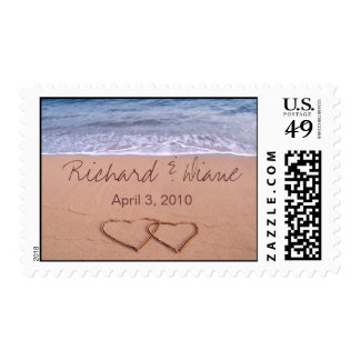 Love on the beach - with hearts postage