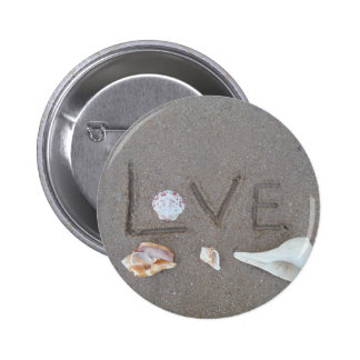 Love on the Beach with sea shells Buttons