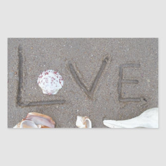 Love on the Beach with sea shells Rectangular Sticker