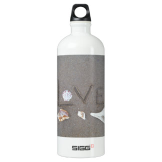 Love on the Beach with sea shells Water Bottle