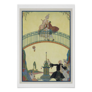 Love on the Bridge, illustration for 'Fetes Galant Poster