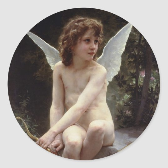 Love on the Lookout by William Bouguereau Classic Round Sticker