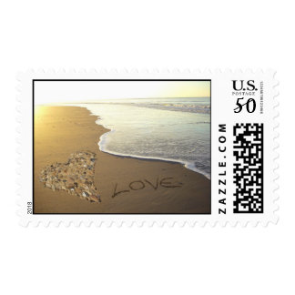 Love on the Sandy Beach Shore Postage