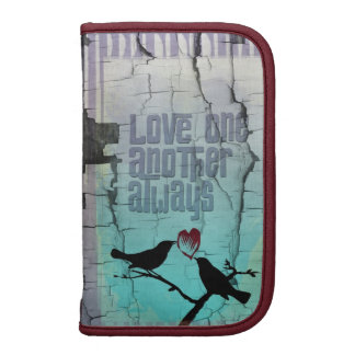 Love One Another Always Whimsical Turquoise Birds Folio Planner