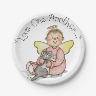 Love One Another Angel & Cat Paper Plate