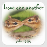 Love One Another Baby Chipmunks Square Sticker