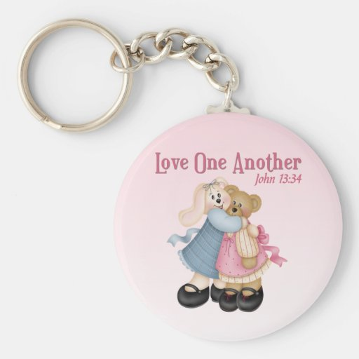 Love One Another Basic Round Button Keychain