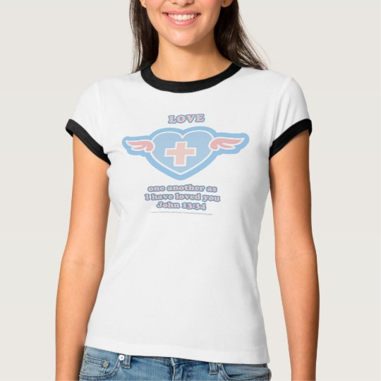 Love one another Blue Heart T-Shirt