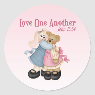 Love One Another Classic Round Sticker