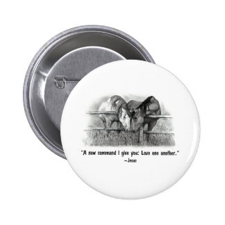 Love One Another: Jesus: Horses 2 Inch Round Button