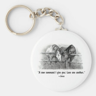 Love One Another: Jesus: Horses Key Chain