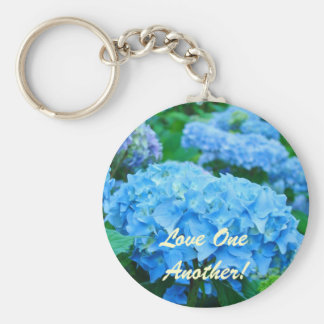 Love One Another! keychain Blue Hydrangea Flowers