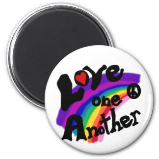 Love One Another Rainbow 2 Inch Round Magnet