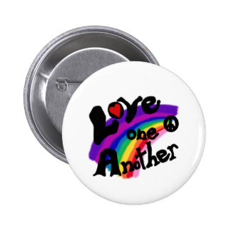 Love One Another Rainbow Button