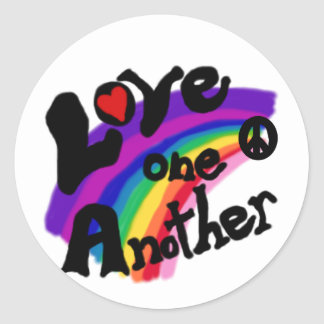 Love One Another Rainbow Classic Round Sticker