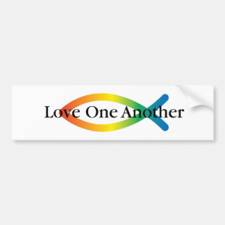 Love one another Rainbow Fish Bumper sticker