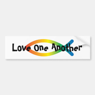 Love one another rainbow fish bumper sticker large
