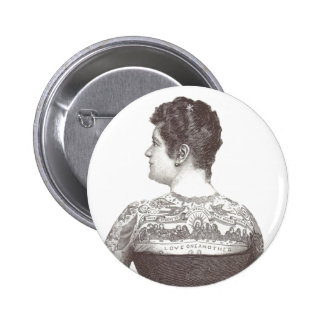 'Love One Another' Tattooed Victorian Woman Button