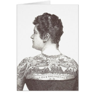 'Love One Another' Tattooed Victorian Woman Card
