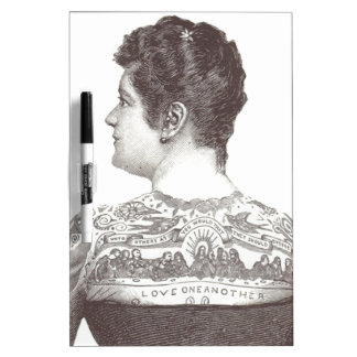 'Love One Another' Tattooed Victorian Woman Dry-Erase Board
