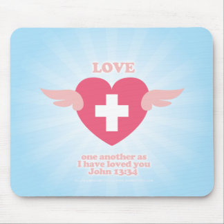 Love one another Winged Heart Mouse Pad