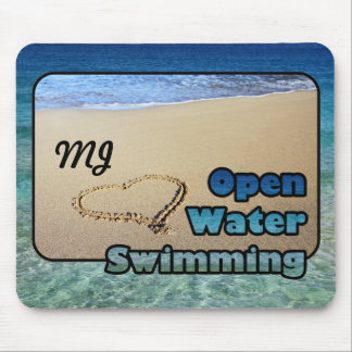 Love Open Water Swimming Sand Beach Heart Sea Mouse Pad