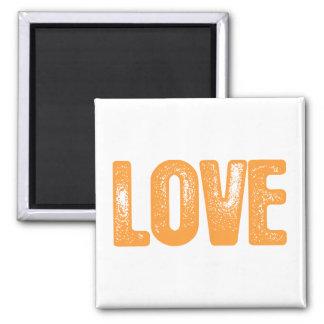 Love - Orange 2 Inch Square Magnet