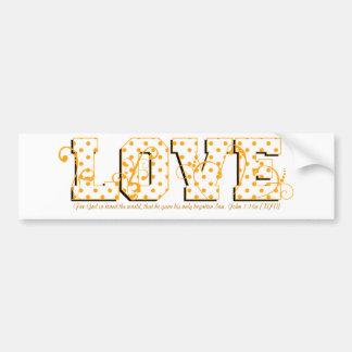 love orange and white polka dots bumper sticker