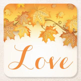Love Orange Autumn Leaves Wedding Party Square Paper Coaster