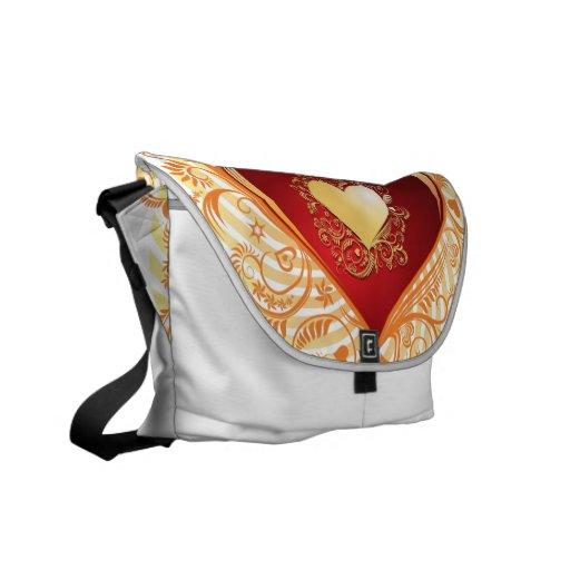 Love Ornamental Heart Courier Bags