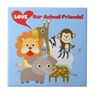 Love Our Animal Friends Small Square Tile