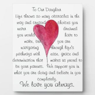 love our daughter plaque with heart