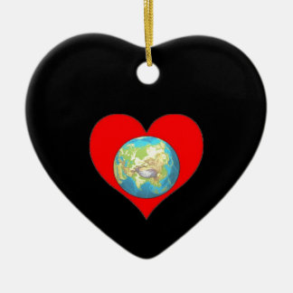 Love our Planet earth and our home Ceramic Ornament