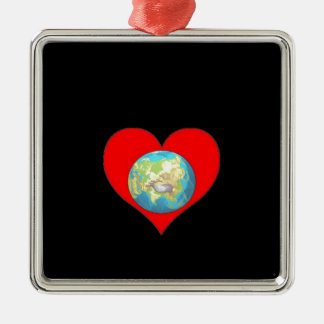 Love our Planet earth and our home Metal Ornament