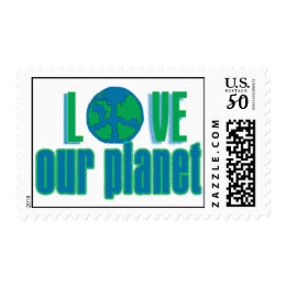 love our planet postage