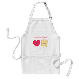 Love over Bread, Cute Food Cartoon Adult Apron