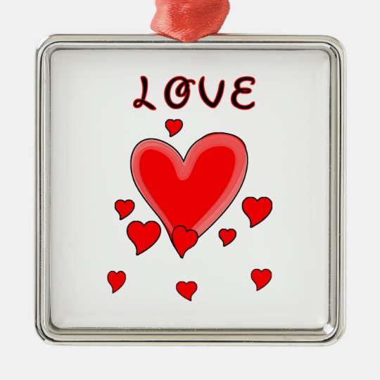 Love Over Hearts Metal Ornament