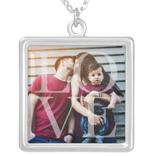 Love Overlay Photo Silver Plated Necklace