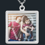 """Love Overlay Photo Silver Plated Necklace<br><div class=""""desc"""">Elegant and simple personalized photo design perfect for mother's day,  as a wedding or anniversary gift,  graduation gift,  etc.</div>"""