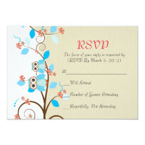 Love Owl Branches Wood Damask RSVP card
