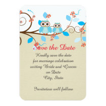 Love Owl Branches Wood Damask Save the date Card
