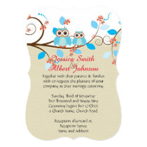 Love Owl Branches Wood Damask Wedding Invite
