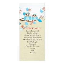 Love Owl Branches Wood Damask Wedding Menu Card