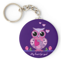 Love Owl carrying a Heart & text Keychain