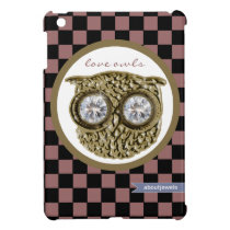 Love owl -  checkered patterns iPad mini case