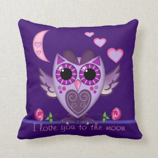 Love Owl , hearts and moon Pillow & custom text
