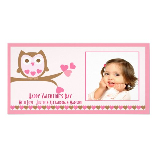 Love Owl Valentine's Day Photo Card Template